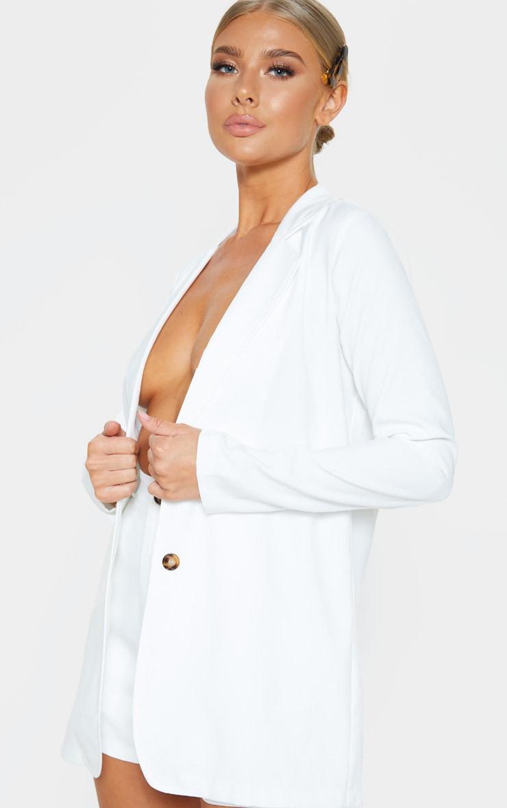 Cream Button Detail Oversized Woven Blazer 2