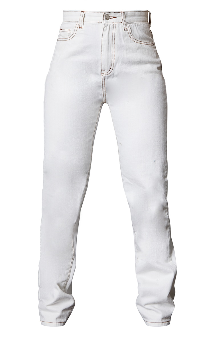 Off White Contrast Stitch Long Leg Straight Jeans 5