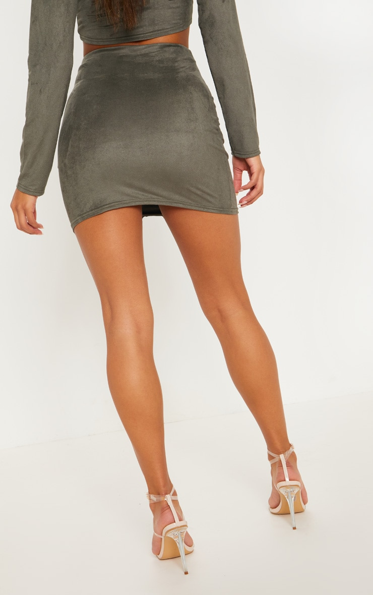 Khaki Faux Suede Button Detail Mini Skirt 4