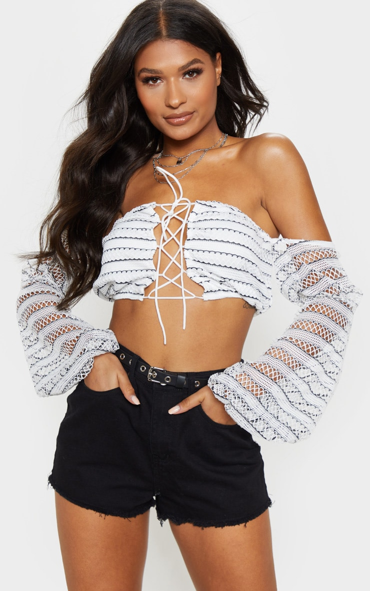 Mono Stripe Crochet Lace Up Bardot Long Sleeve Top 4