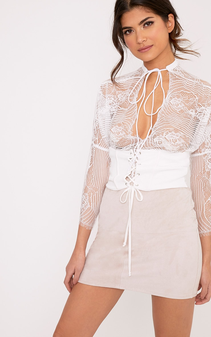 Aiden White Lace Drawstring Longsleeve Thong Bodysuit 1