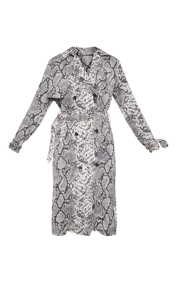 Tall Grey Snake Print Trench Coat 3