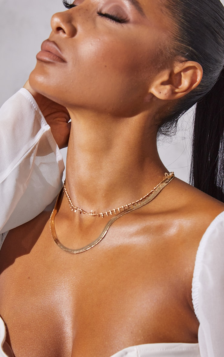 Gold Snake Chain Layering Necklace 2