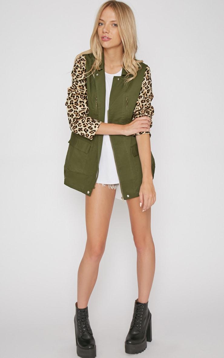 Fern Khaki & Leopard Sequin Parka Coat -XL 4