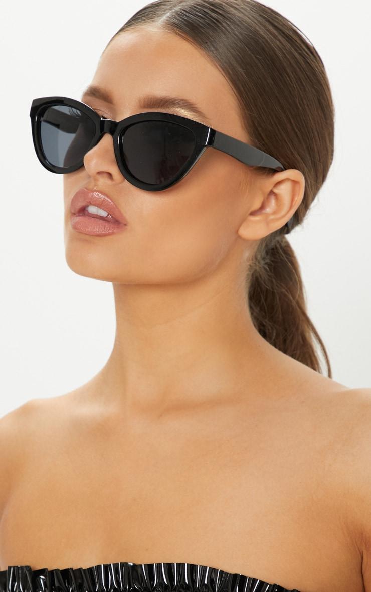 Black Shiny Oversized Cat Eye Frame Sunglasses