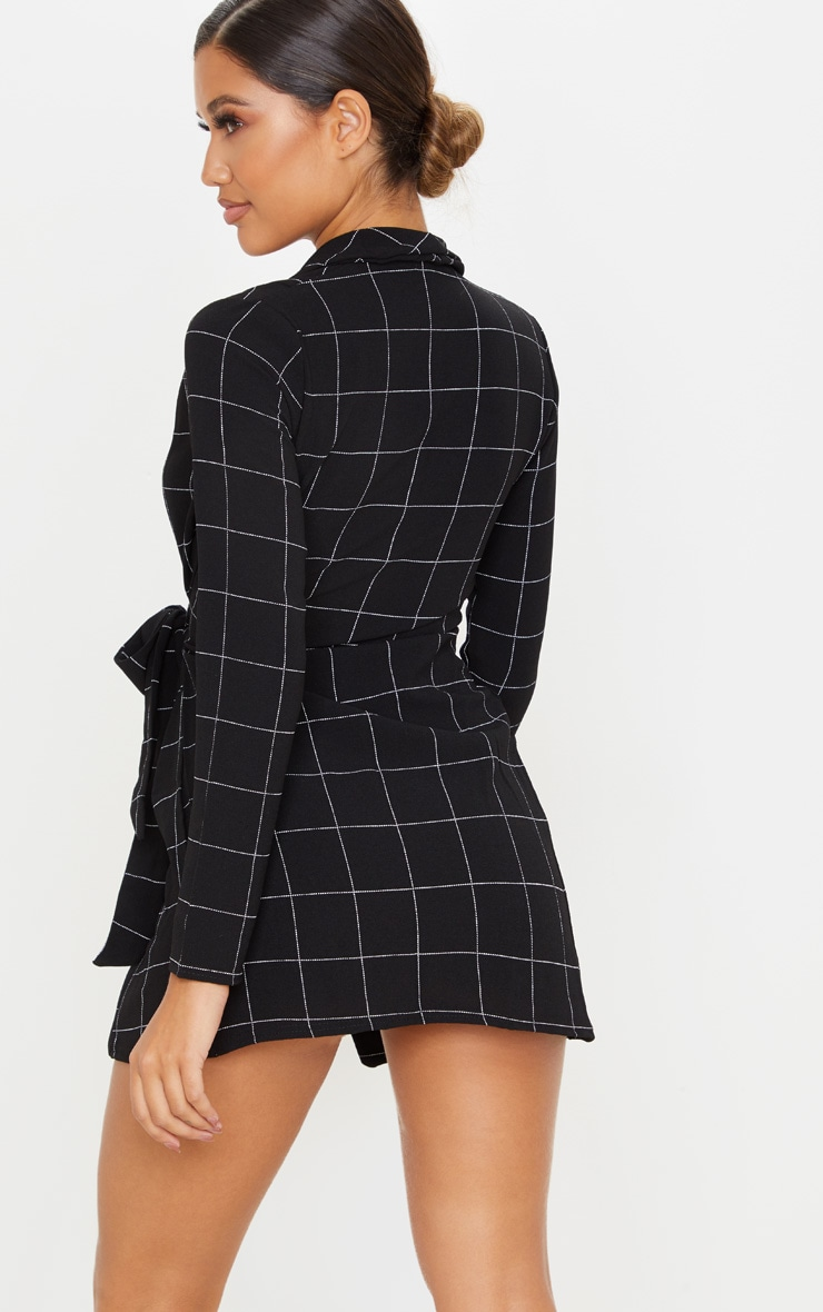 Black Checked Long Sleeve Blazer Dress 2