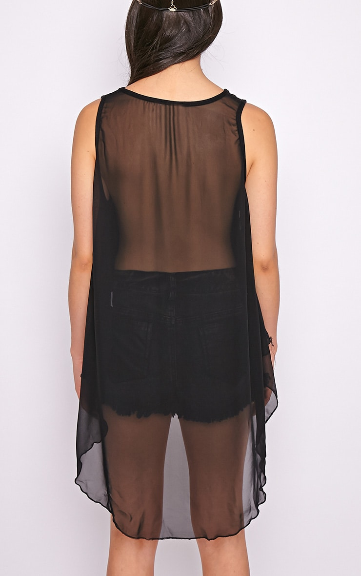 Malikah Black Dip Hem Top With Sheer Back 2