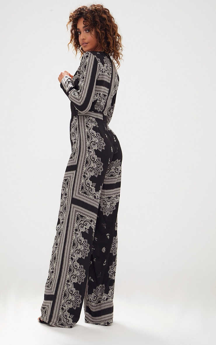 Black Scarf Print Long Sleeve Plunge Jumpsuit 2