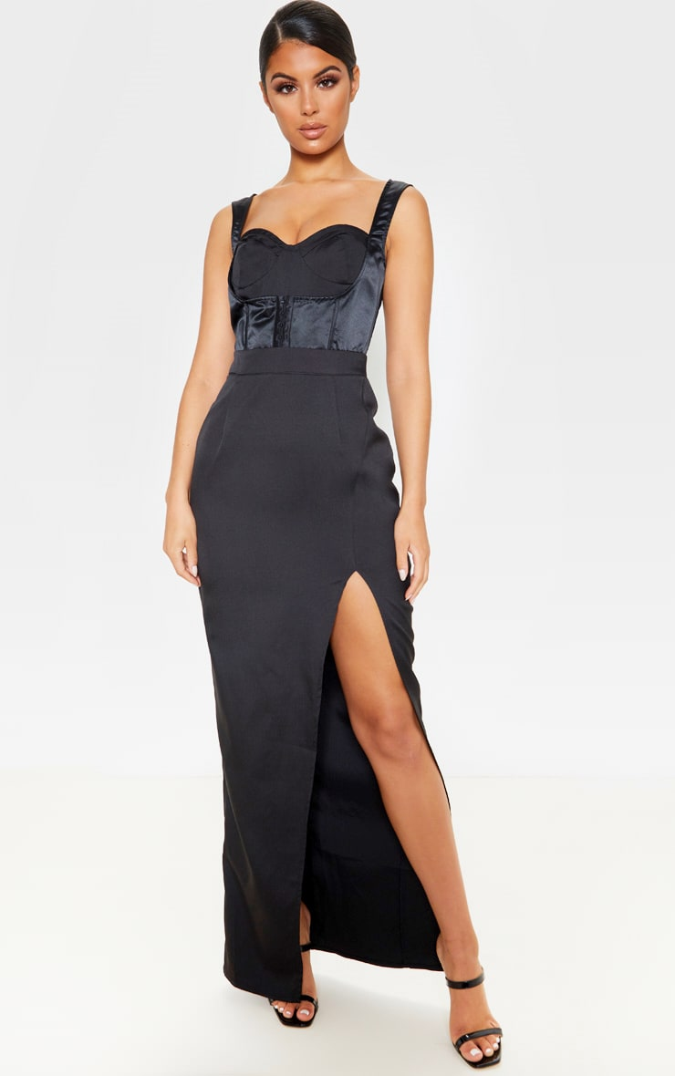 Black Corset Detail Sleeveless Maxi Dress 1