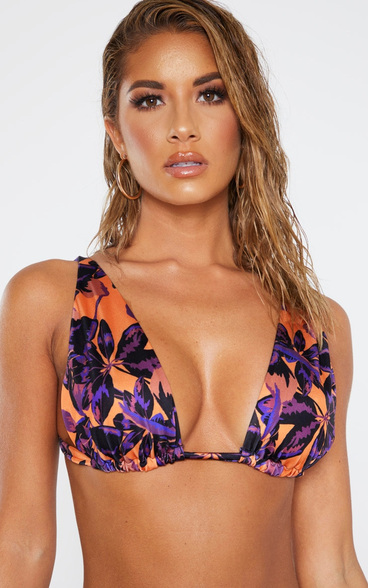Orange Shadow Leaf High Apex Triangle Bikini Top 5