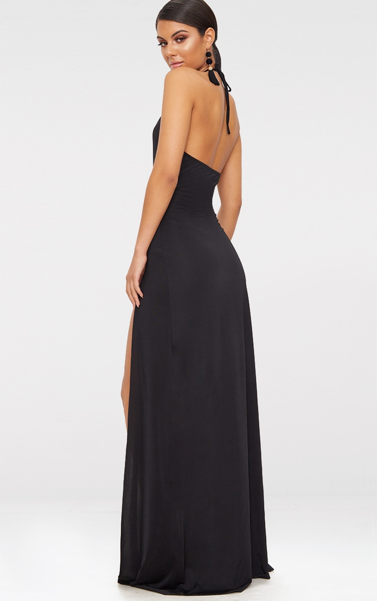 Black High Neck Cut Out Detail Extreme Split Maxi Dress 2