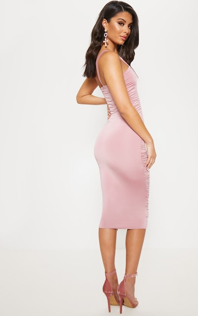 Rose Slinky Ruched Midaxi Dress