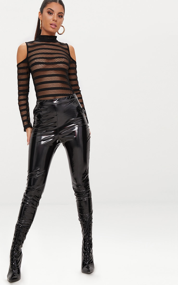 Black Fishnet Cold Shoulder Thong Bodysuit  5