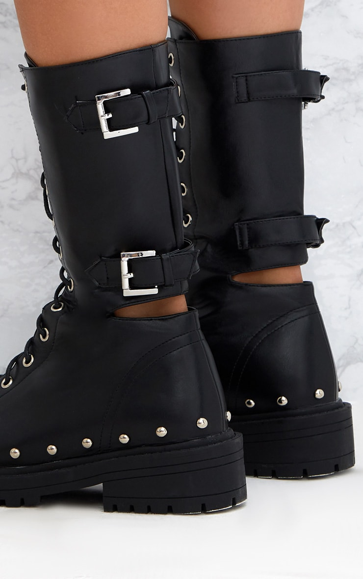 Black Chunky Hard Wear Lace Up Ankle Boots 5