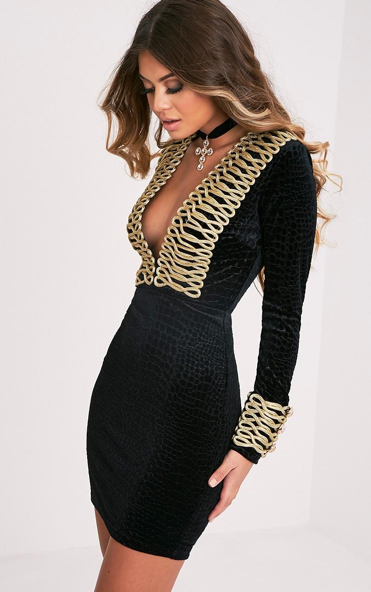 Alania Black Velvet Rope Detail Bodycon Dress 5