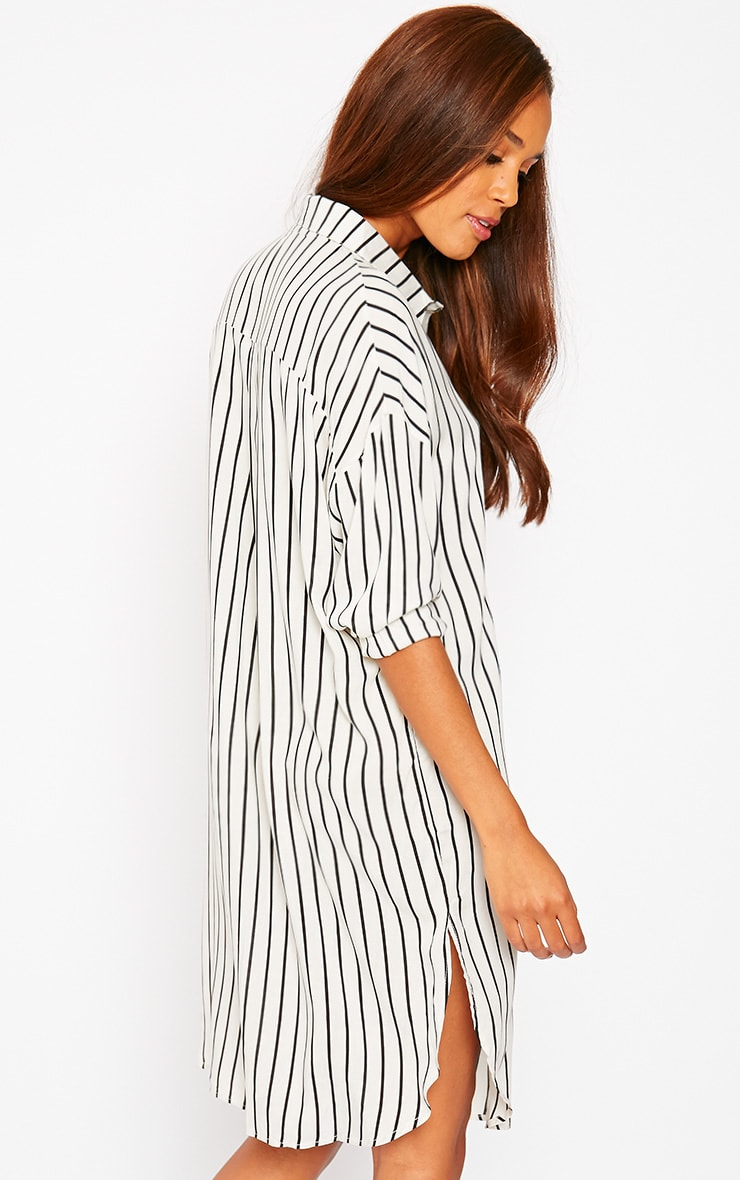 Bria Cream Stripe Shirt Dress 7