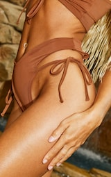 Mocha Tie Side High Leg Bikini Bottoms 4