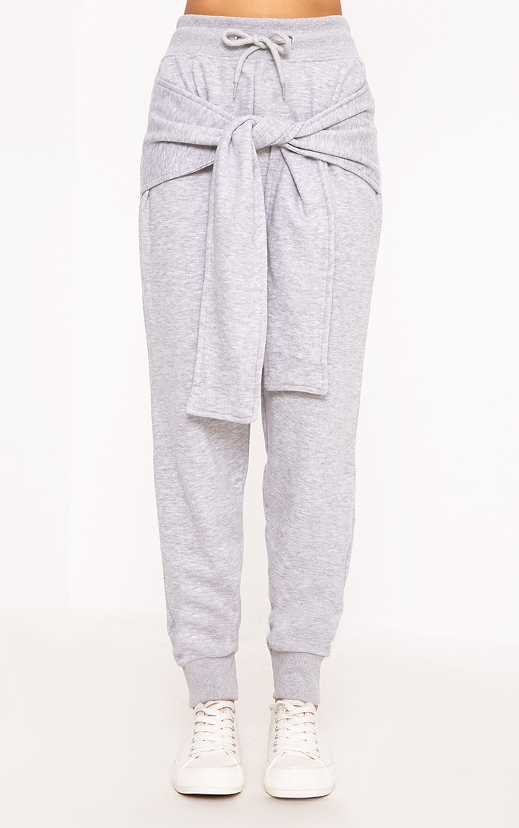 Lucee Grey Tie Front Joggers 2
