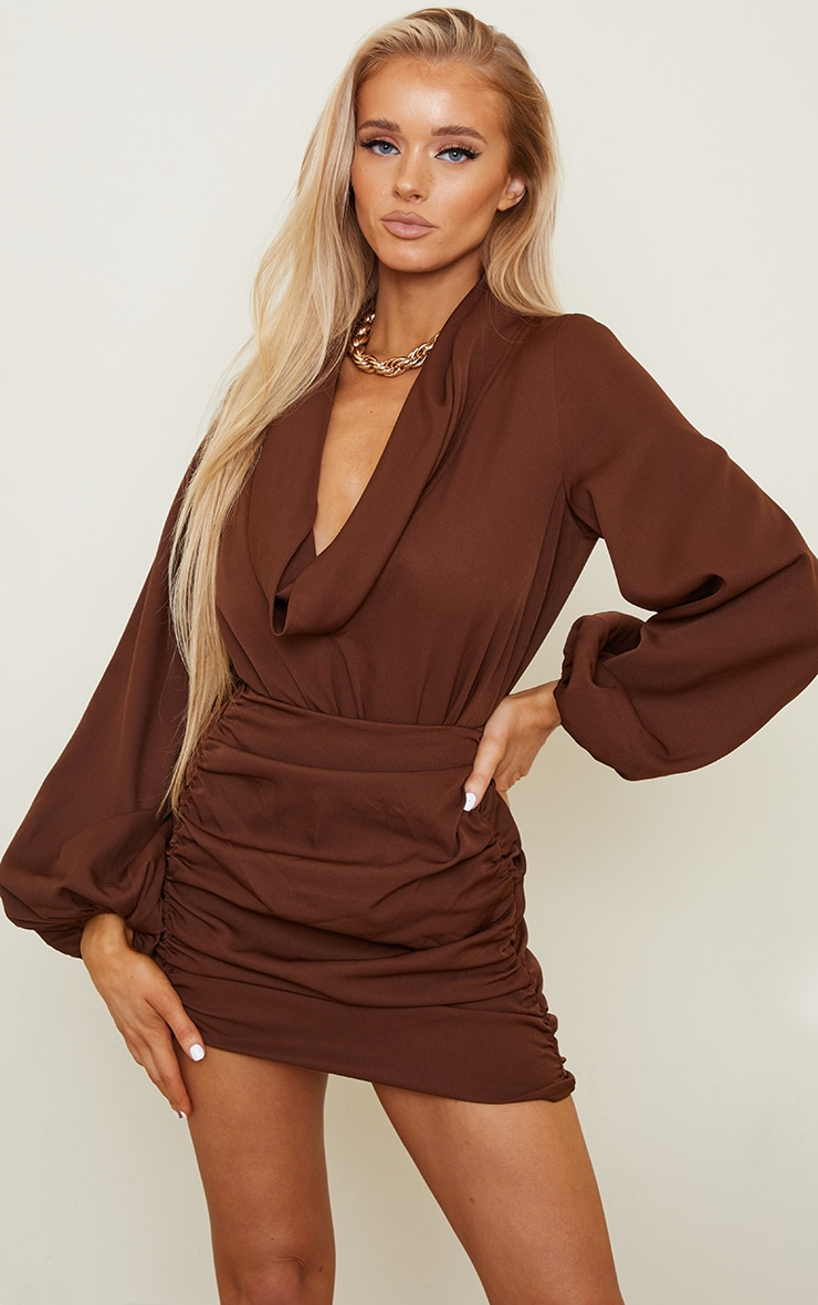Chocolate Brown Woven Cowl Neck Balloon Sleeve Bodysuit 1