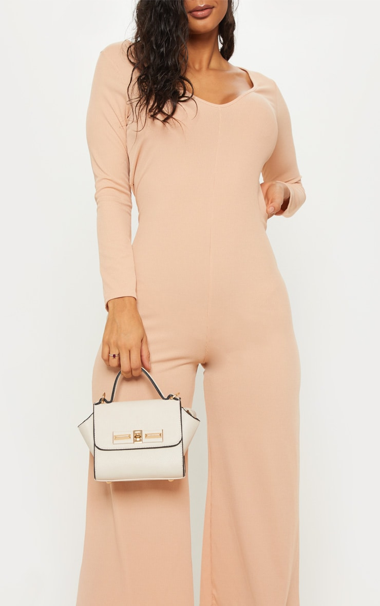 Stone Ribbed Open Back Long Sleeve Jumpsuit 5
