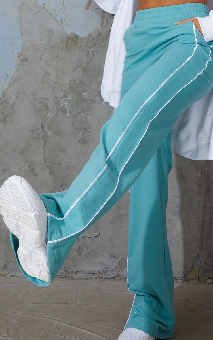 Washed Green Piping Detail Wide Leg Joggers 4