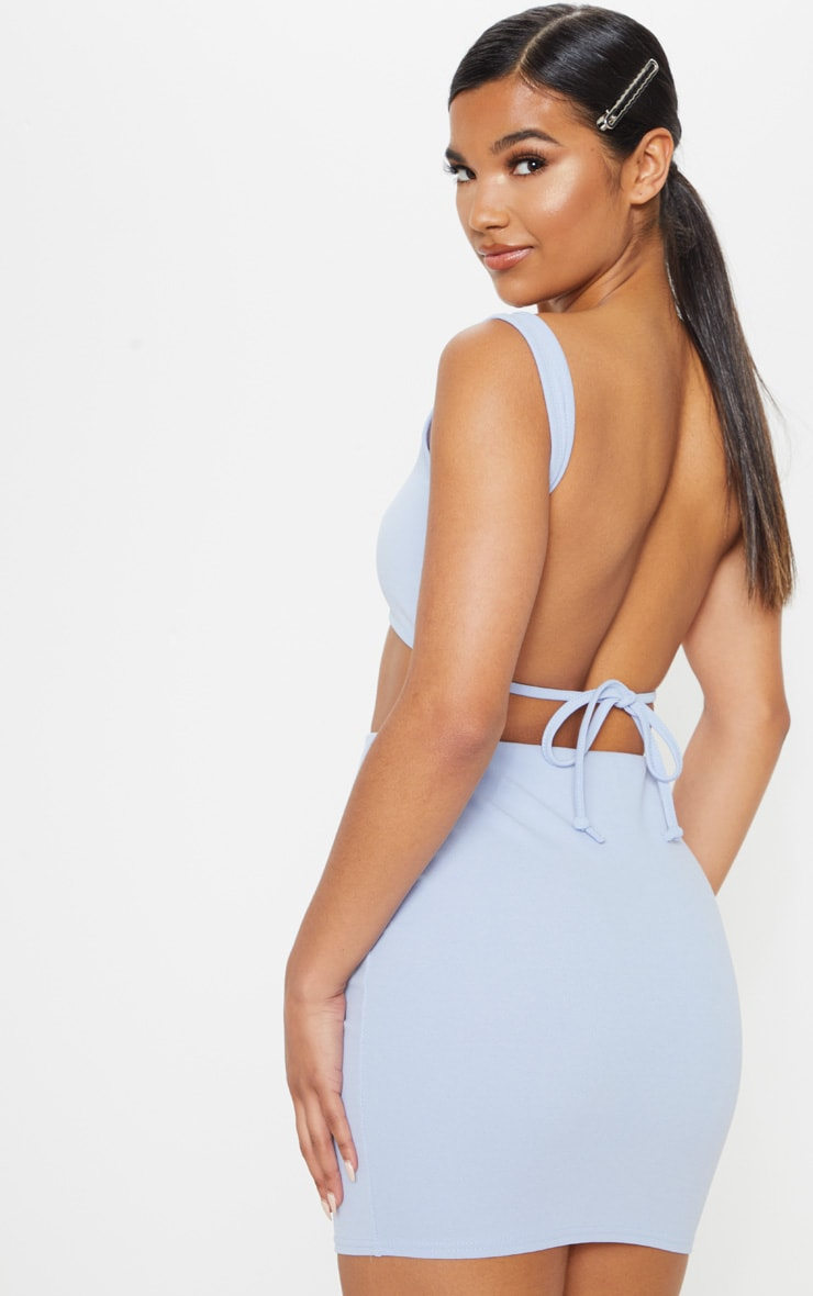 Light Blue Crepe Scoop Neck Strap Crop Top 2