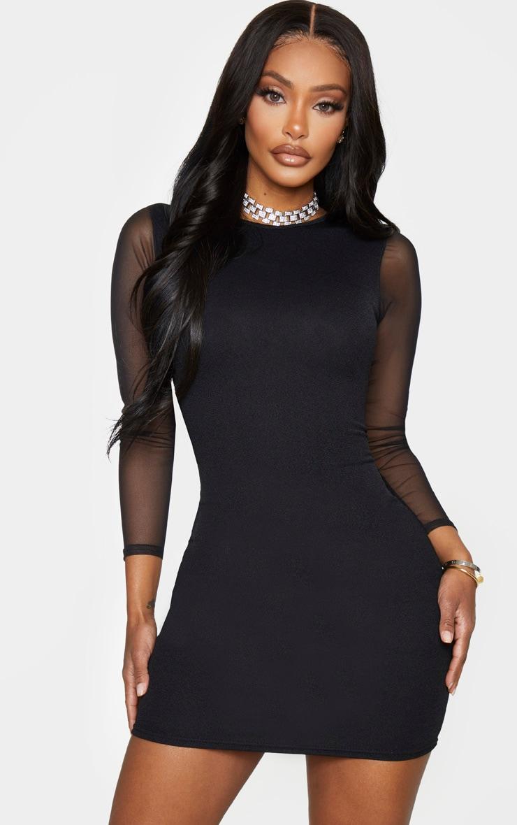 Shape Black Crepe Mesh Sleeve Bodycon Dress 1