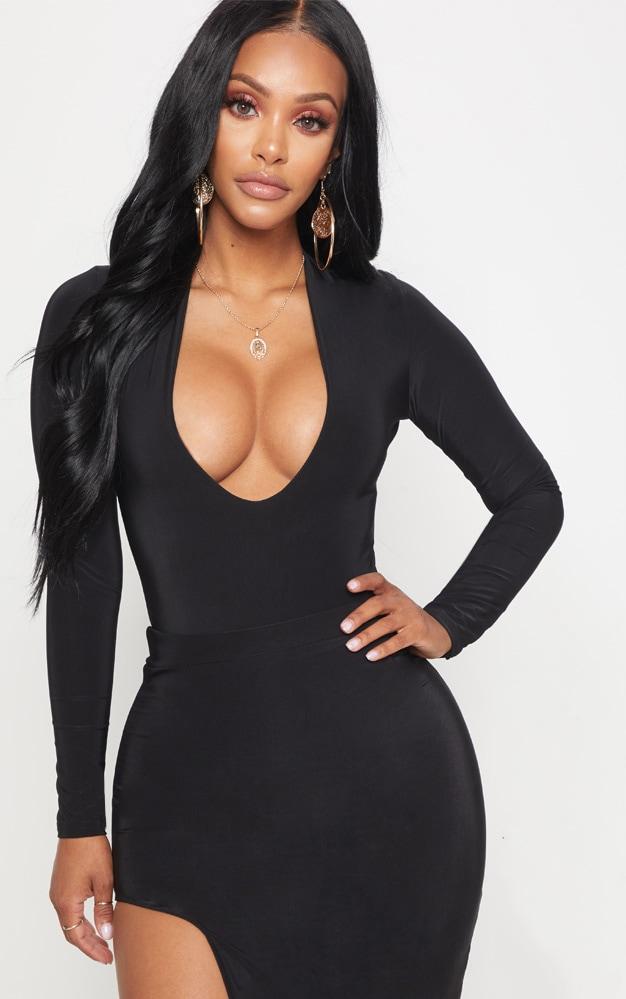 Shape Black Slinky Extreme Plunge Bodysuit 1
