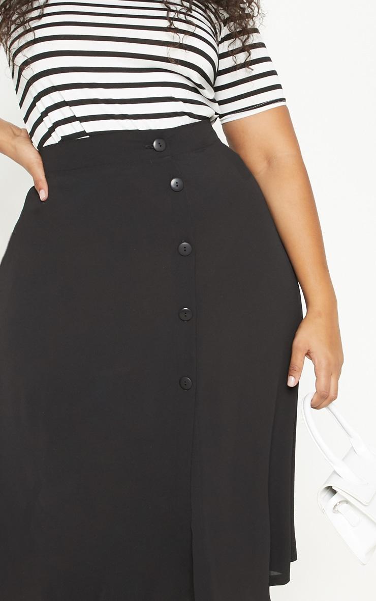 Plus Black Button Up Midi Skirt  5