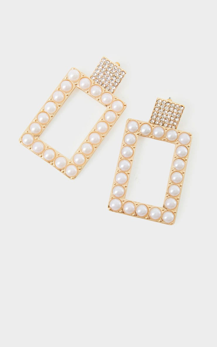 Gold Oversized White Pearl Square Statement Earrings 1