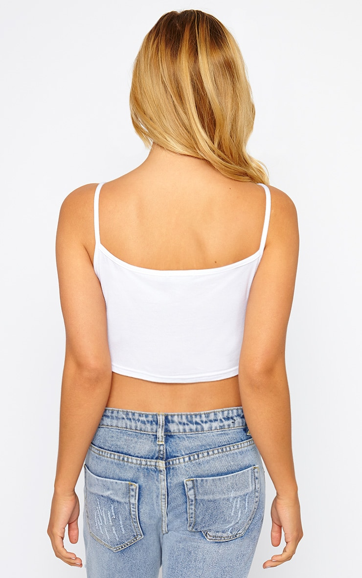 Basic White Racer Neck Crop Top 2