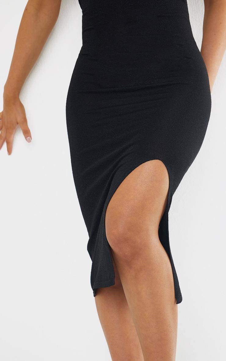 Black Premium Knit Choker Detail Split Front Glitter Midi Dress 4