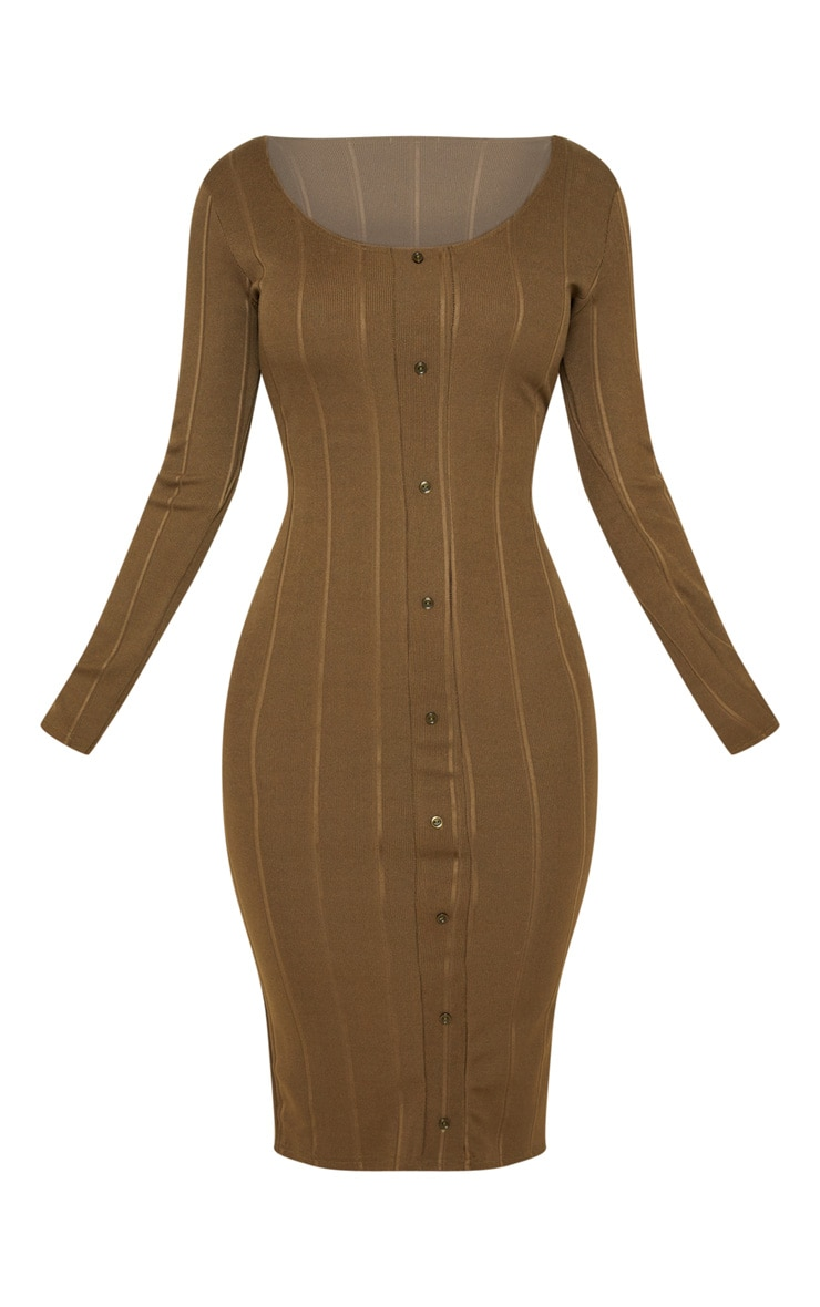 Khaki Wide Rib Button Front Midi Bodycon Dress 3