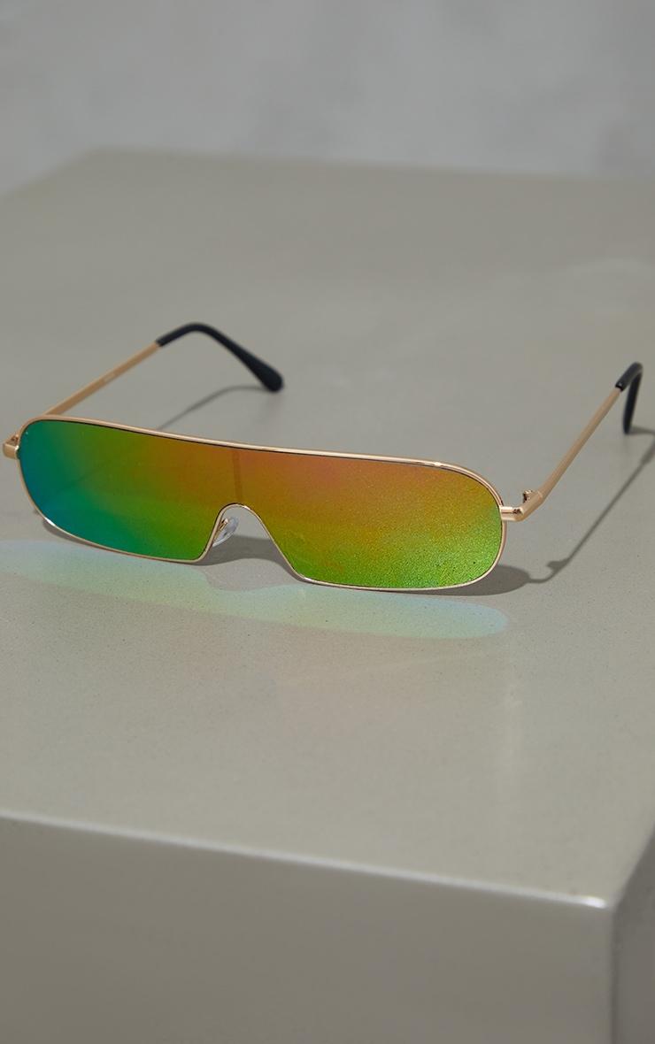 Gold Revo Lens Round Slimeline Sunglasses 2