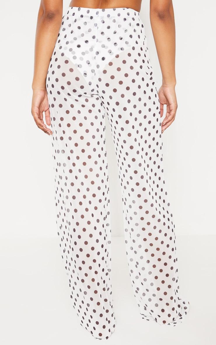 Tall White Polka Dot Sheer Wide Leg Beach Trouser 4