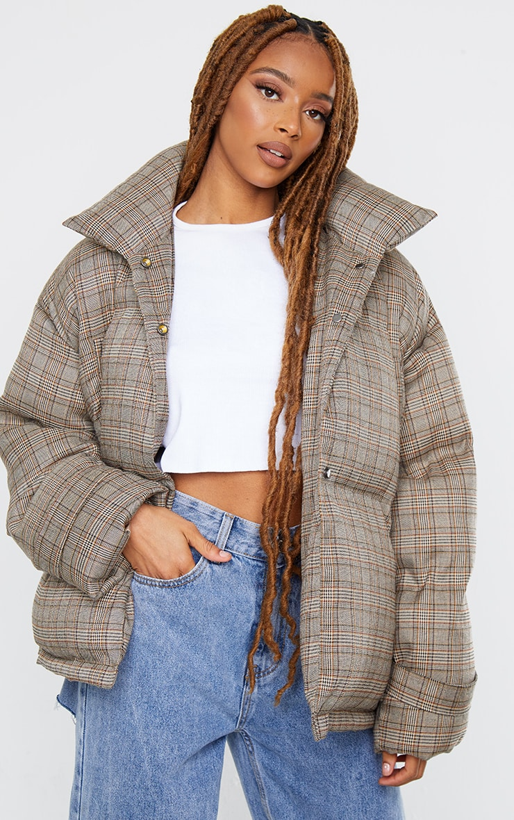 Brown Check Oversized Quilted Large Collar Puffer Coat 1