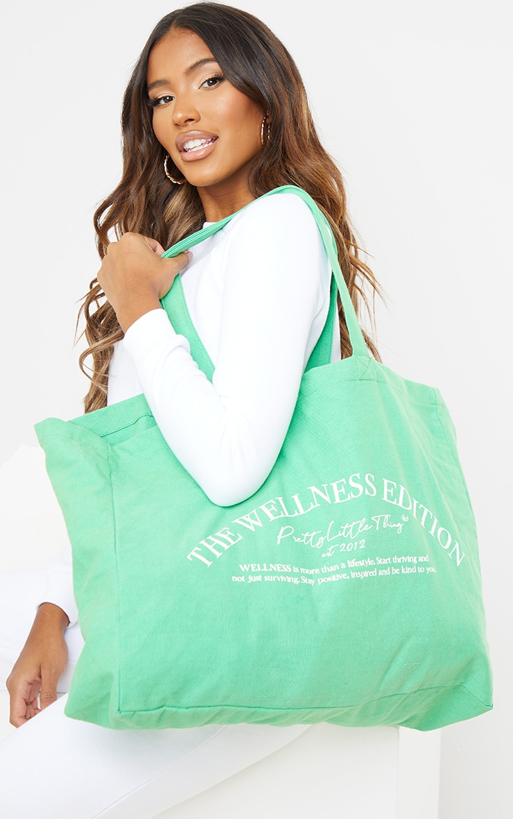 PRETTYLITTLETHING Green Wellness Tote Bag image 1