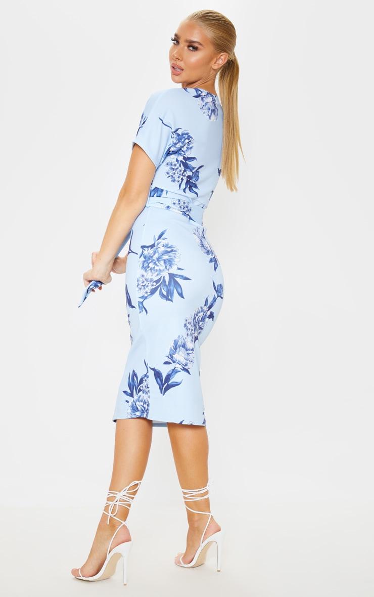 Blue Floral Print Short Sleeve Tie Waist Midi Dress 2