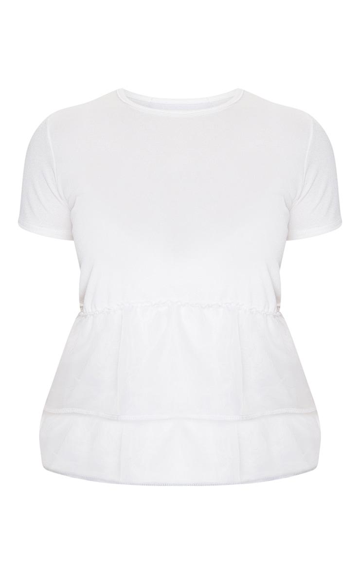 White Organza Frill T Shirt 5