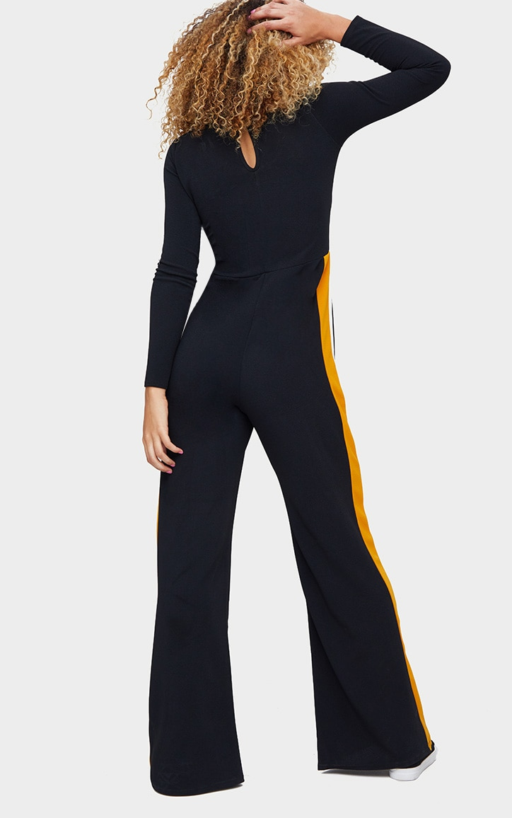 Black High Neck Sports Stripe Jumpsuit 2