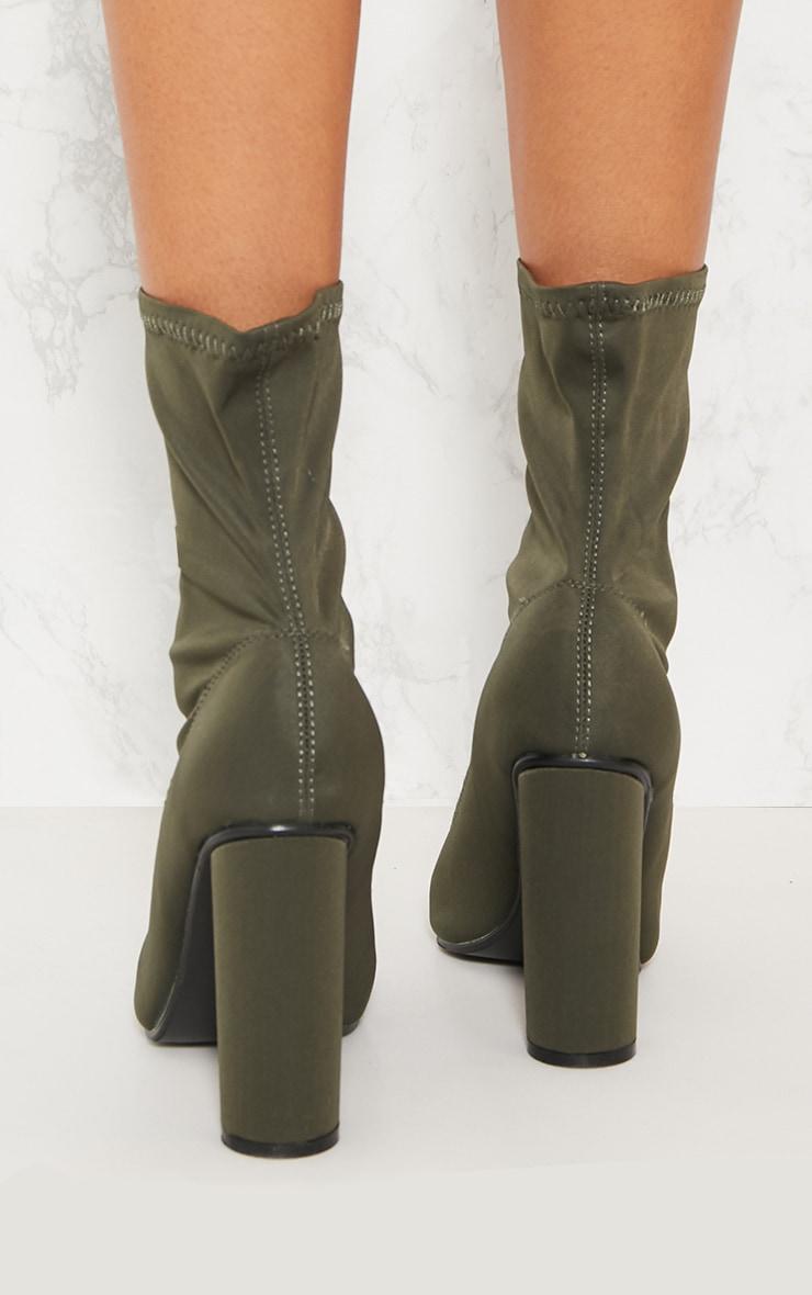 Khaki Block Heel Sock Boot 3