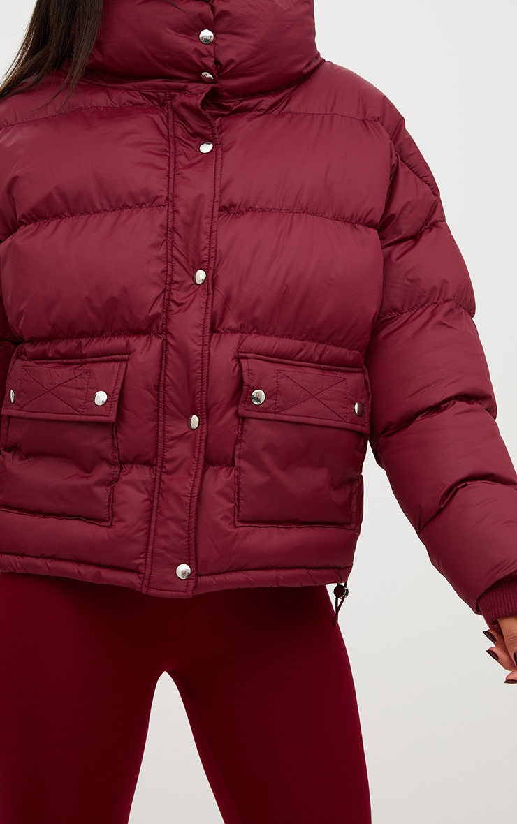 Burgundy Oversized Puffer Jacket with Button Pockets 5