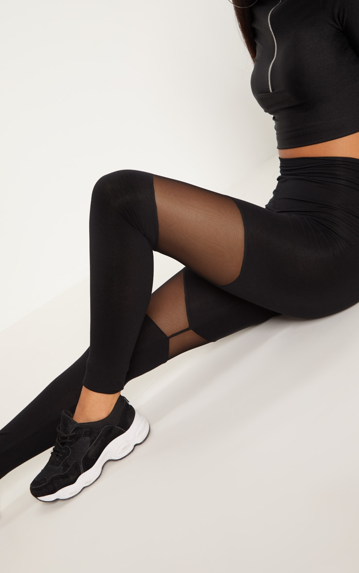 Black Mesh Panel Jersey Legging  5