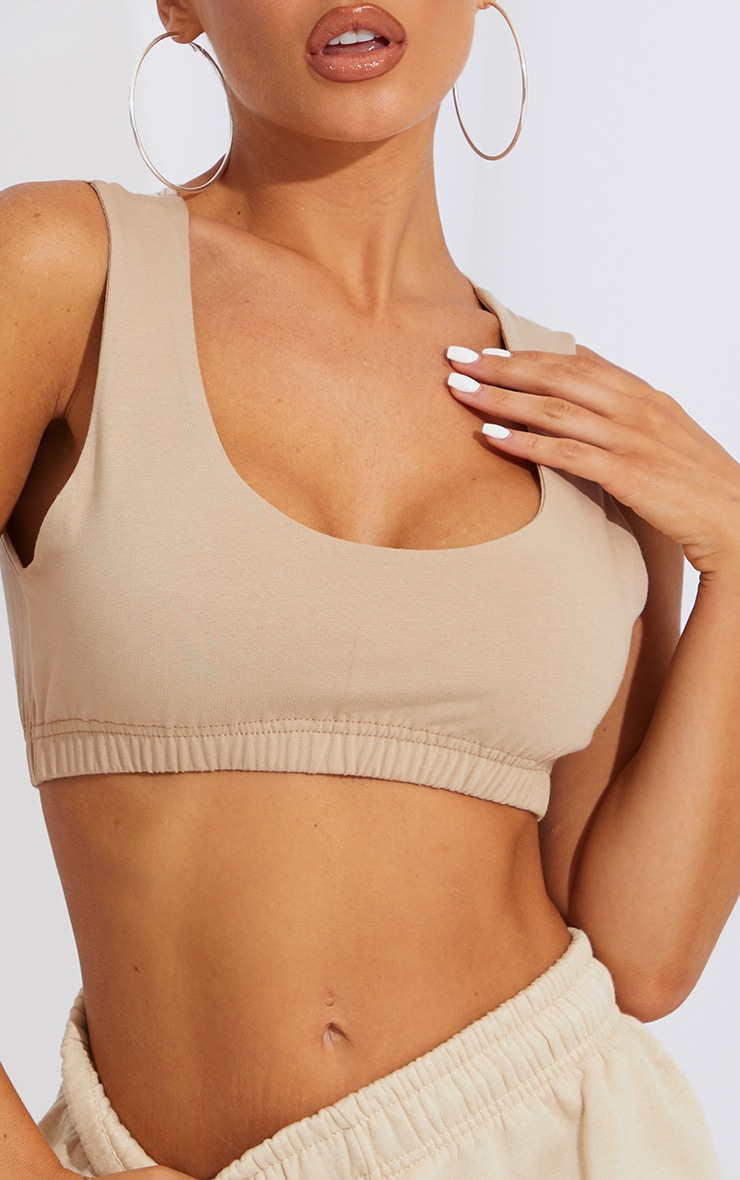 Sand Scoop Neck Cotton Crop Top 4