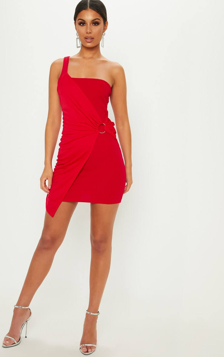 Red One Shoulder Ring Detail Bodycon Dress 4