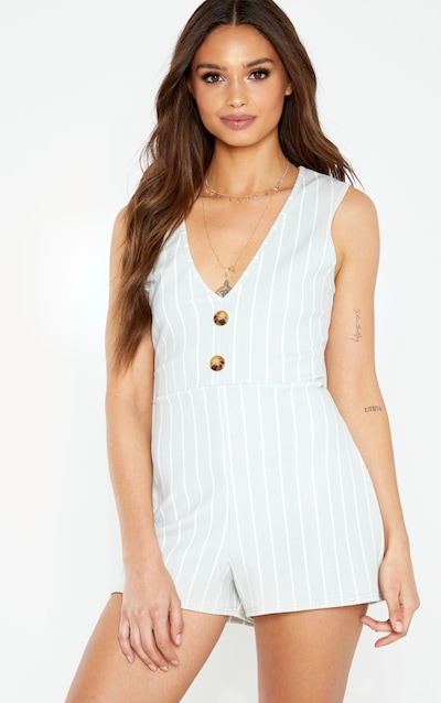 1ee804c3322 Grey Striped Button Detail Slouchy Playsuit. More colours available