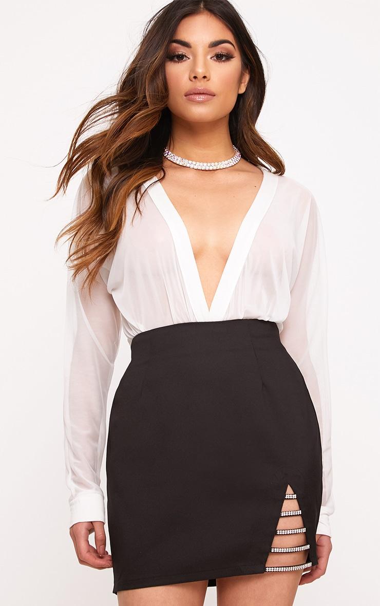 Calista Black Diamond Split Mini Skirt 1