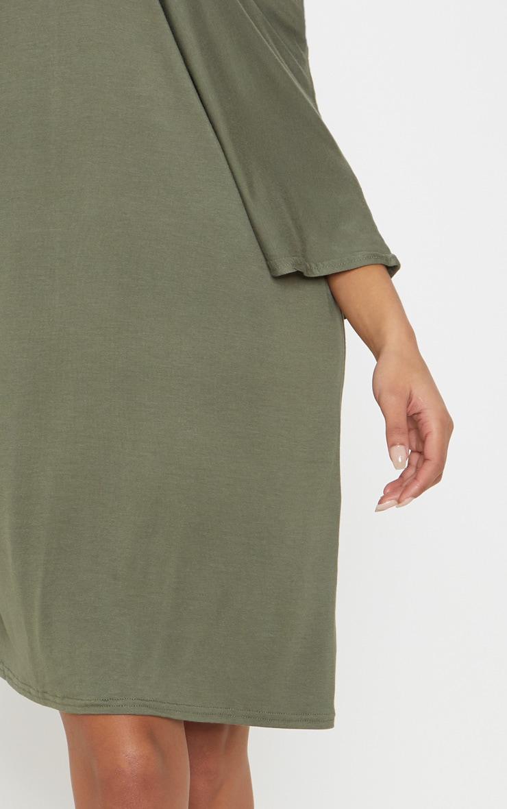 Basic Khaki V Neck T Shirt Dress 5