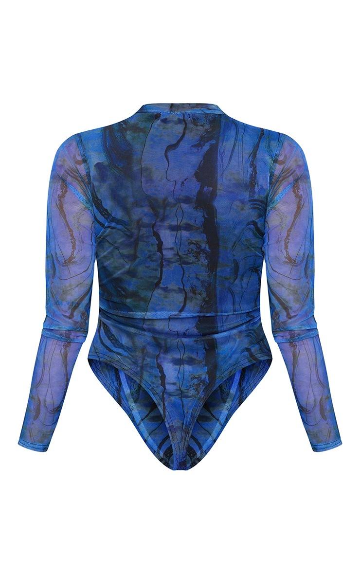 Shape Blue Tie Dye Mesh Ruched High Neck Bodysuit 6