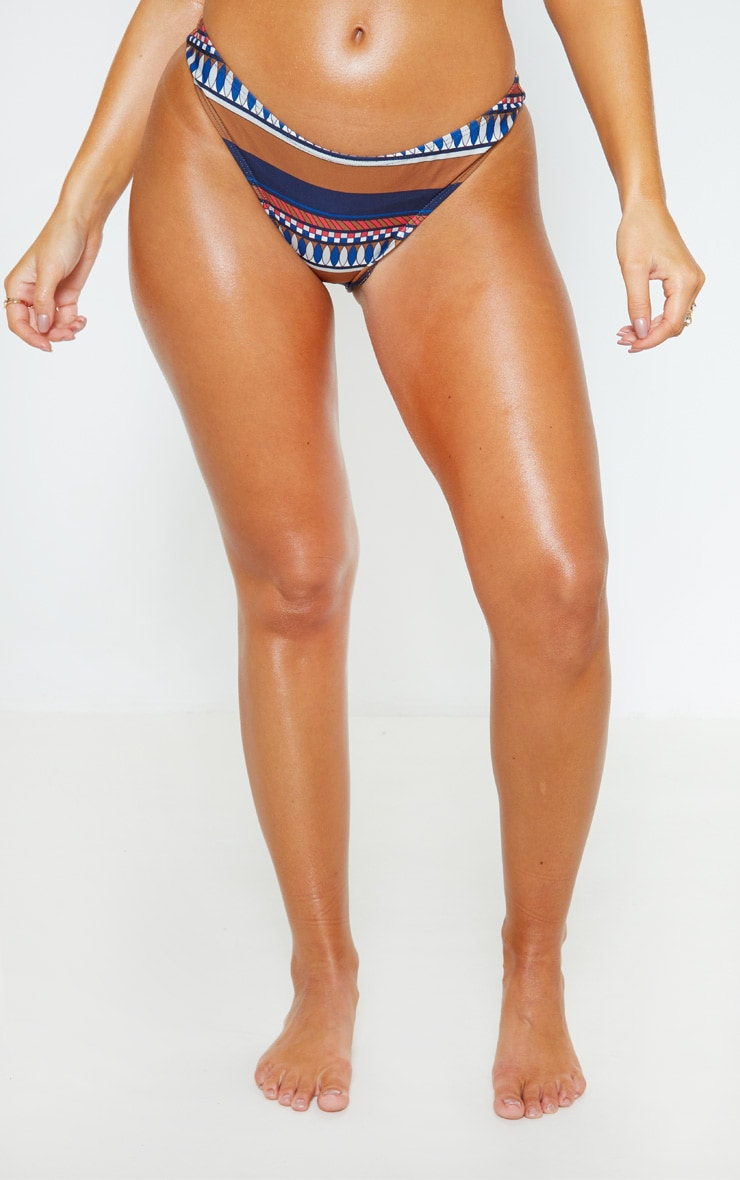 Brown Geo Stripe Print High Leg Bikini Bottom 2